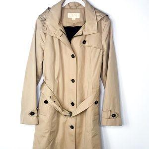 Michael Kors Womens Raincoat Belted Trench Coat